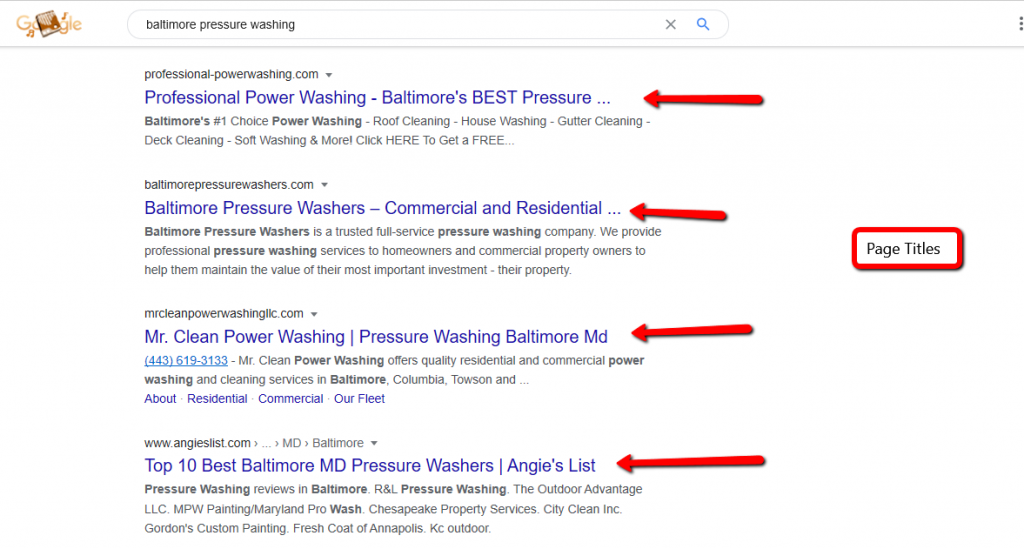 search result in Baltimore